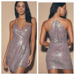 Lulu's Hilaria Mauve Pink Iridescent Sequin Dress